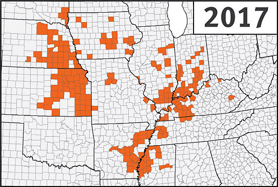 This is a map of the U.S. Corn Belt showing confirmed detections of southern rust in corn through the first week of September during the 2017 growing season.