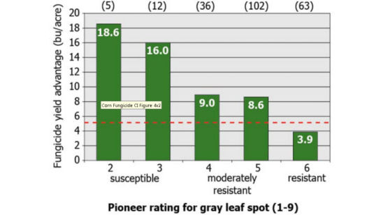 Average yield response of Pioneer® brand products to foliar fungicide applications.