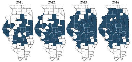 Illinois counties in which glyphosate-resistant waterhemp has been identified (2011-2014)