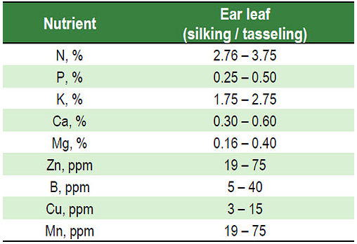 Some critical nutrient values for corn ear leaves silking / tasseling