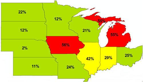 Percent of soil samples that fell below state optimum levels for K in the Corn Belt.
