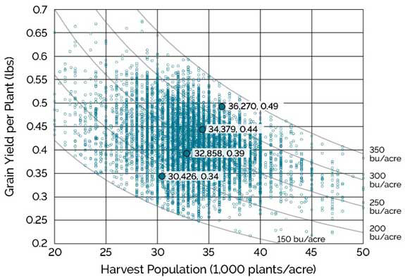 Chart showing harvest population and yield per plant for NCGA National Corn Yield Contest entries between 150 and 350 bu/acre, 2013-2018.