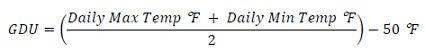 Growing degree unit (GDU) formula.