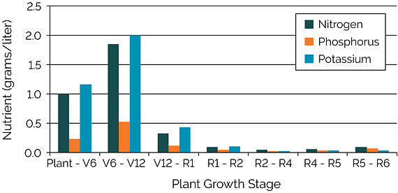 Chart showing estimated amounts of nutrient flux to support a corn grain yield of 300 bu/acre, all growth stages.