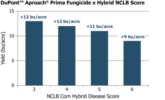 Average yields from 40 Pioneer GrowingPoint agronomy trials in Iowa in 2015 illustrating the yield advantage of a fungicide application on Pioneer® brand hybrids with varying disease scores.
