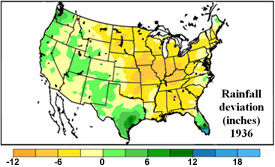 U.S. rainfall deviation from the mean - May 1 - July 13, 1936.