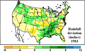 U.S. rainfall deviation from the mean - May 1 - July 13, 1983.