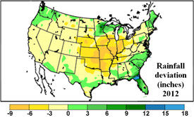 U.S. rainfall deviation from the mean - May 1 - July 13, 2012.