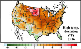 U.S. temp. deviation from the mean - May 1 - July 13, 1936.