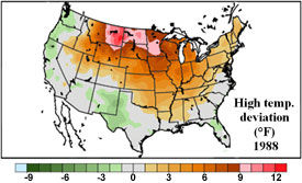 U.S. temp. deviation from the mean - May 1 - July 13, 1988.