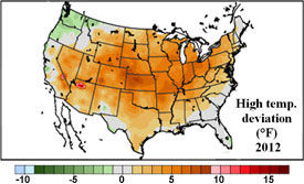 U.S. temp. deviation from the mean - May 1 - July 13, 2012.