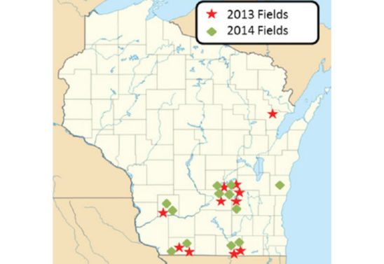 Map: Locations of Wisconsin variable rate technology study for 2013 and 2014.