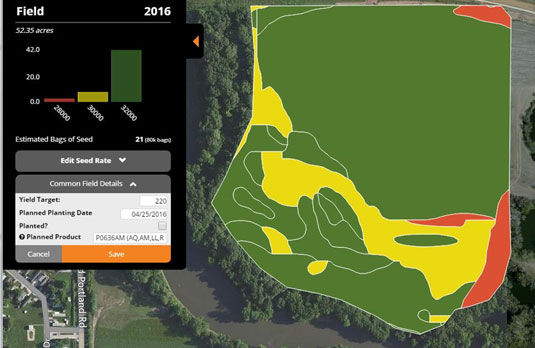 Example of variable-rate seeding prescription map in Encirca(SM) Yield Stand.