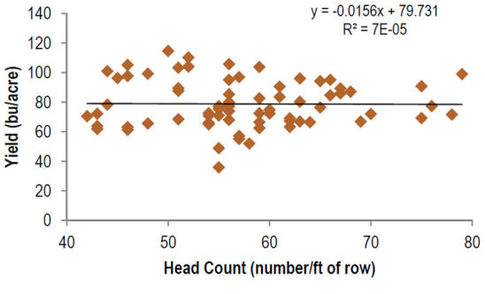 Regression of grain yield and head count, 11 locations.
