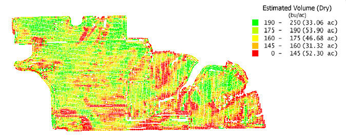 Yield monitor estimated volume map