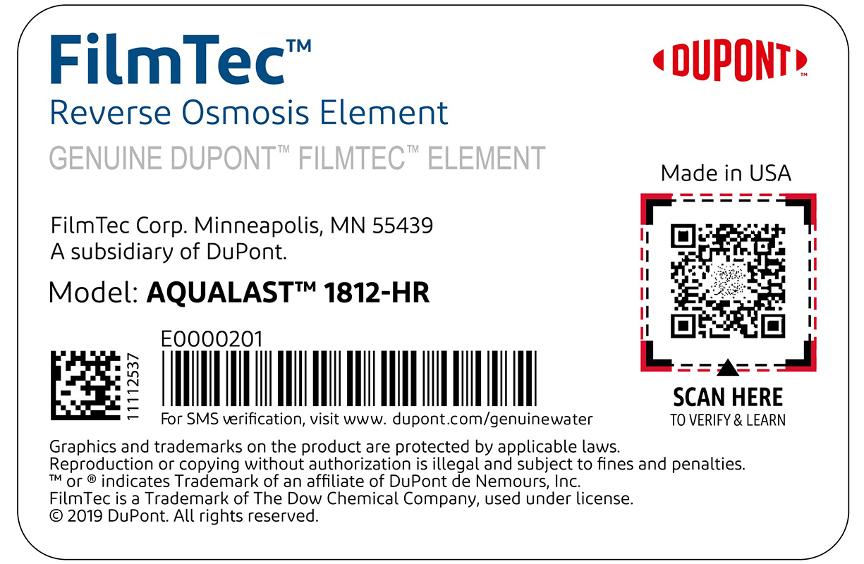 Close-up of a genuine FILMTEC™ reverse osmosis element label with the serial number above a barcode circled in red and indicated by a red arrow