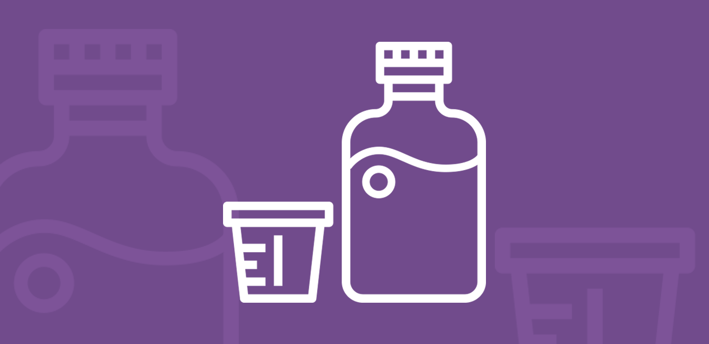 Medicinal bottle and graduated cup with liquid oral solution, vector illustration.
