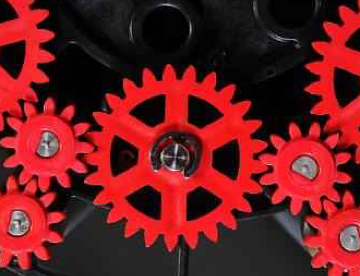 Red mechanical gears
