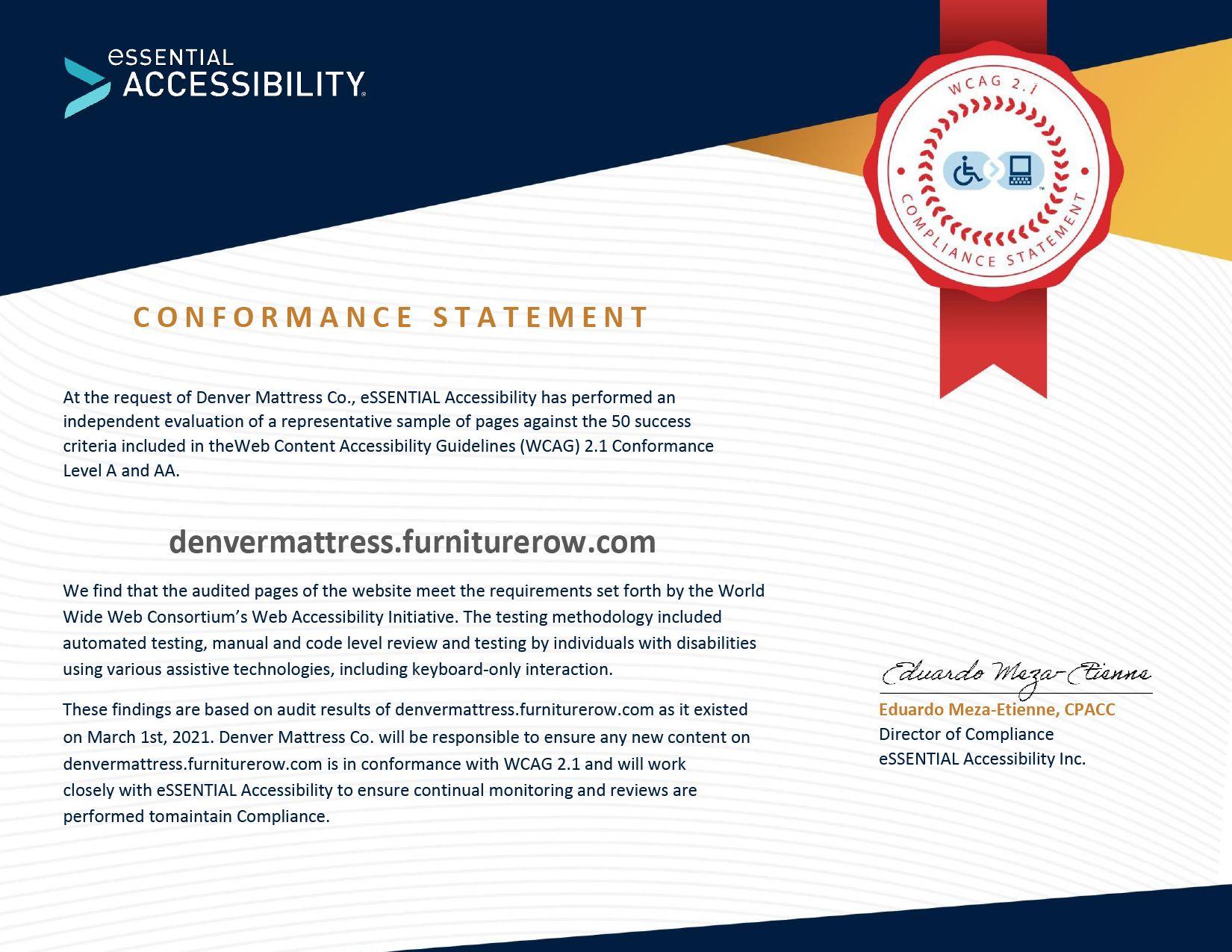 Denver Mattress WCAG Conformance