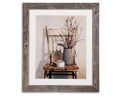 Watering Can On A Chair Framed Print Furniture Row