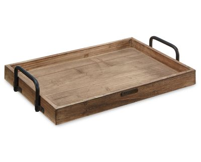 Magnolia Home Rectangular Wood Tray With Metal Handle