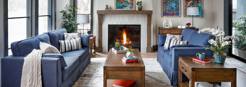 Bardot Sofa in Fireplace Living Room