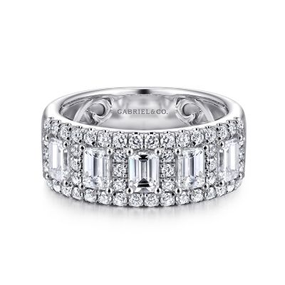 14k white gold emerald cut fancy anniversary band. Black Bedroom Furniture Sets. Home Design Ideas