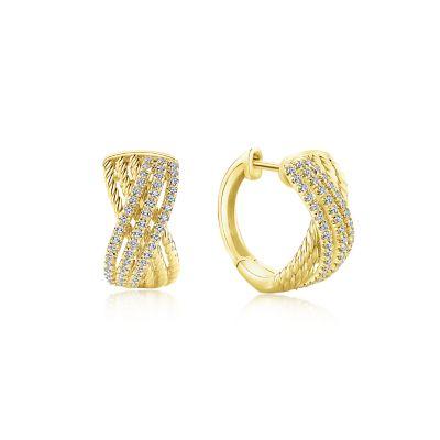 14k Yellow Gold Twisted Criss Cross Diamond Huggie
