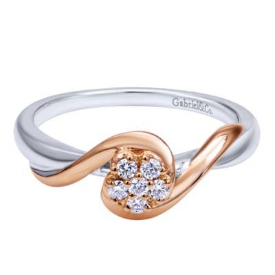 925 Silver And 18k Rose Gold Bypass Engagement Ring