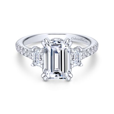 Charlene 18k White Gold Emerald Cut 3 Stones Engagement