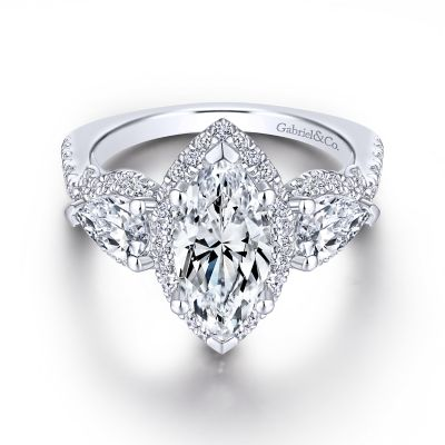 18k White Gold Marquise 3 Stone Halo Diamond Engagement