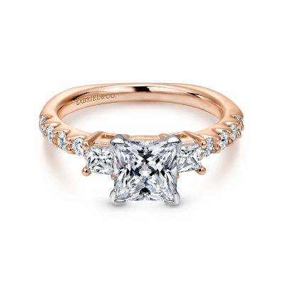 Emerson 14k White And Rose Gold Princess Cut 3 Stones