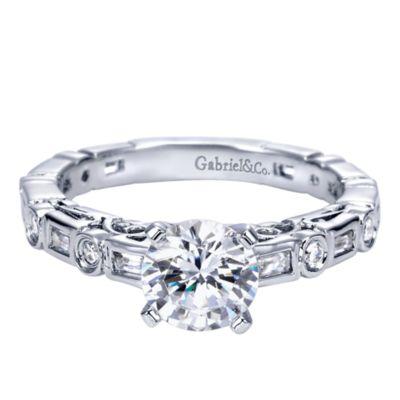 14k White Gold Round Straight Engagement Ring Er5652w44jj
