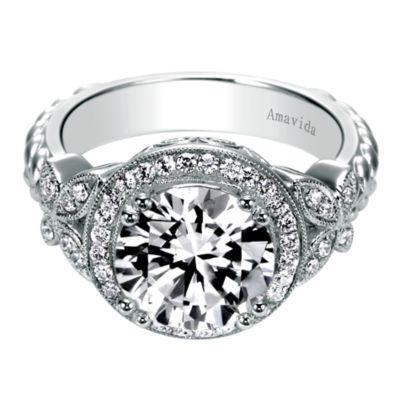 Evolve 18k White Gold Round Halo Engagement Ring Er6519w84jj