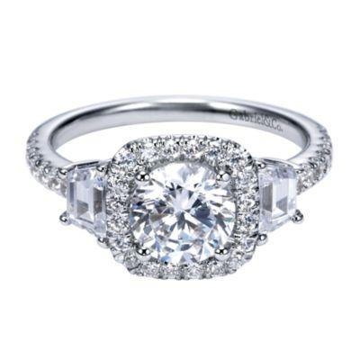 Ashlyn 14k White Gold Round Halo Engagement Ring Er7485w44jj