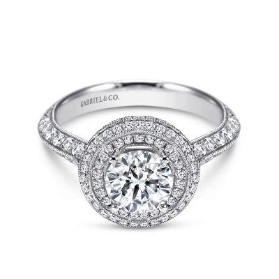 14k White Gold Round Double Halo Engagement Ring Er7502w44jj