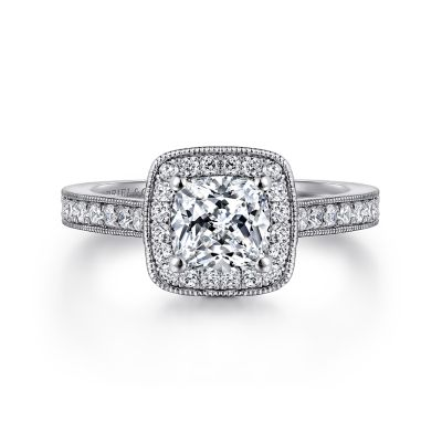 Vintage 14k White Gold Cushion Halo Diamond Engagement