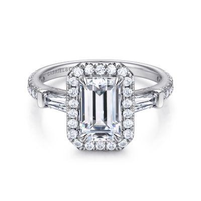 Raveena 14k White Gold Emerald Cut Halo Engagement Ring