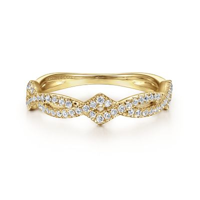14k Yellow Gold Stackable Entwined Diamond Shape Ladies
