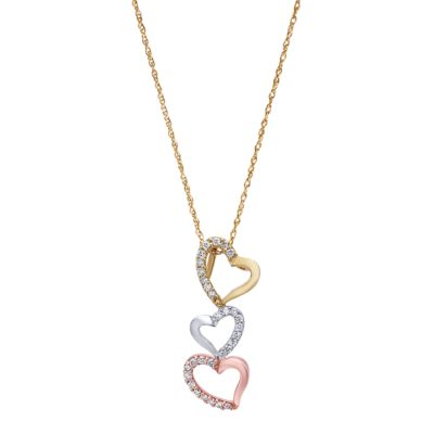 14k Yellow And White And Rose Gold Eternal Love Heart