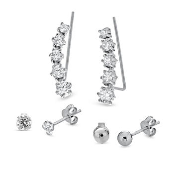 White Cubic Zirconia Sterling Silver 3 Pair Earring Set
