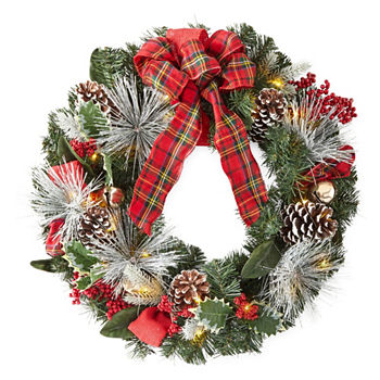 led pinecone jingle bell christmas wreath