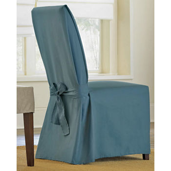 Incredible Sure Fit Cotton Duck Dining Chair Slipcover Long Gmtry Best Dining Table And Chair Ideas Images Gmtryco