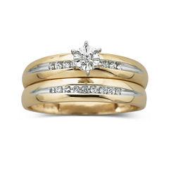 1/8 ct. t.w. Diamond 10K Yellow Gold Bridal Set