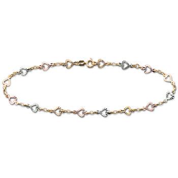 10k Gold Tri Color Heart Ankle Bracelet