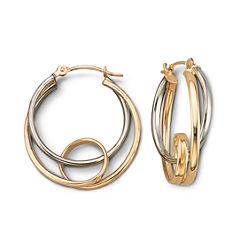 Gold Hoop Earrings, 20mm Two-Tone 14K