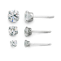 Stud Earrings, Cubic Zirconia Set 14K White Gold