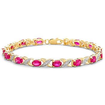 Lab-Created Ruby with Diamond-Accents 14K Gold over Silver Link Bracelet
