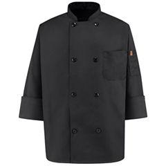 Chef Designs® Black Chef Coat–Big & Tall