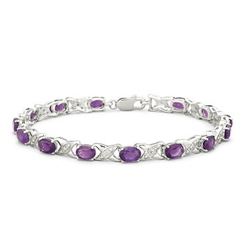 "Genuine Amethyst with Diamond-Accents Sterling Silver ""XO"" Link Bracelet"